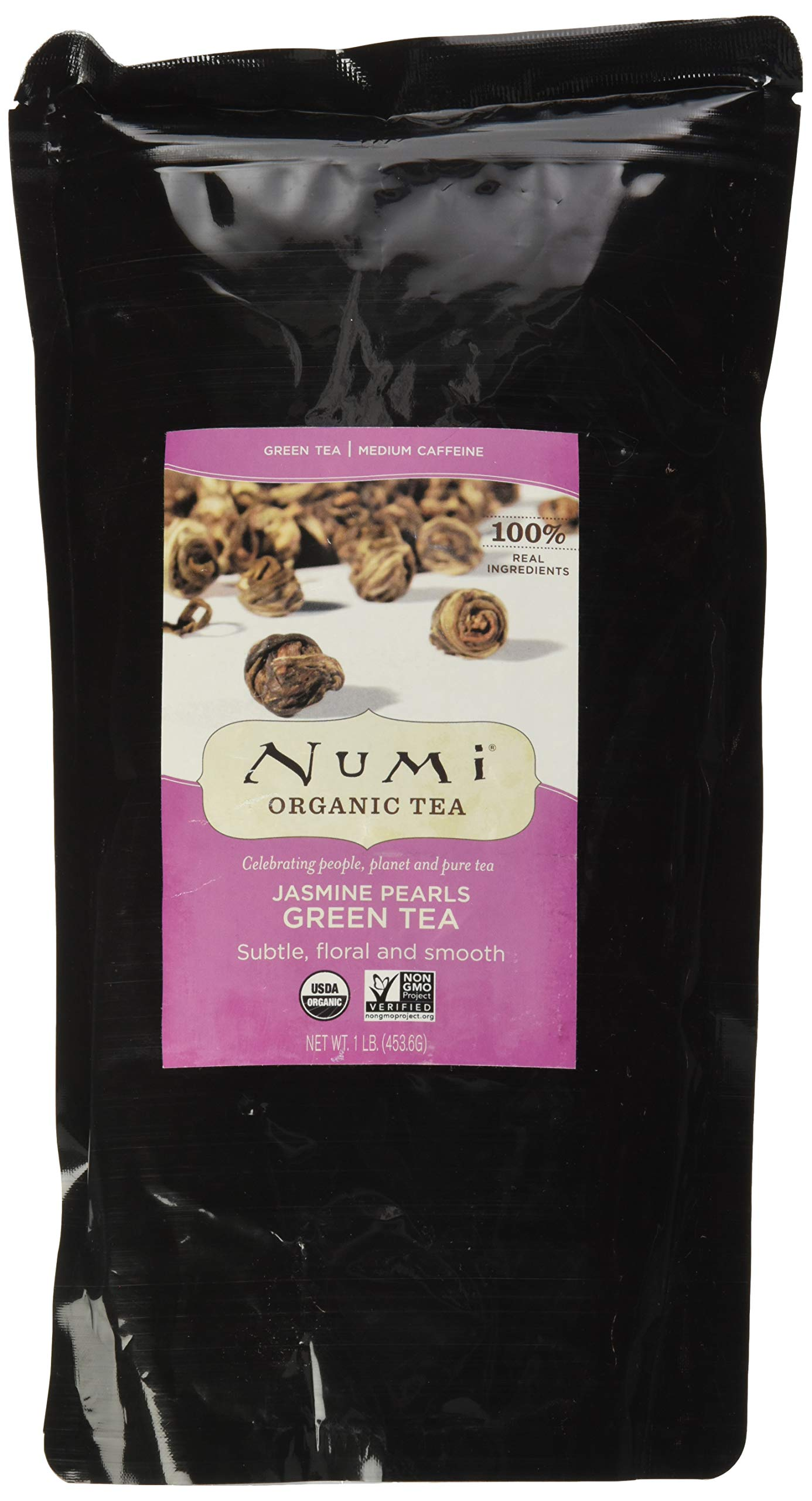 Numi Organic Tea Jasmine Pearls, 16 Ounce Pouch, Loose Leaf Green Tea (Packaging May Vary) by Numi
