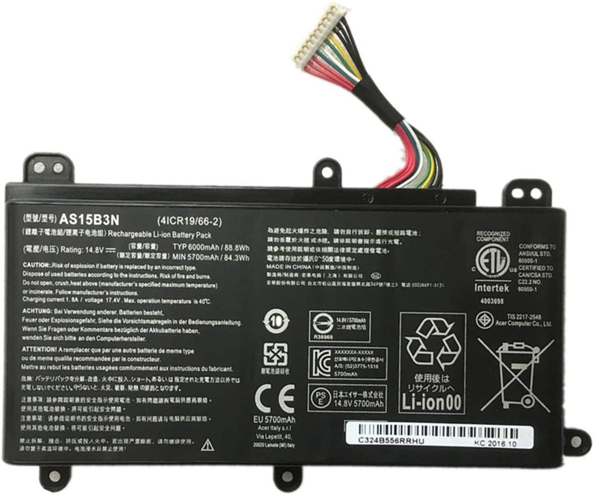 efohana AS15B3N Laptop Battery Replacement for Acer Predator 15 G9-591 G9-591G G9-592 G9-592G G9-791G G9-792G 17 G9-791 G9-792 17X GX-791 Series Notebook KT.00803.004 14.8V 88.8Wh 6000mAh