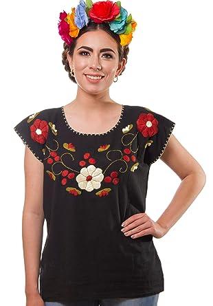 4c93f82c259756 Embroidered Blouse Floral Artisans Handmade Peasant Cotton Boho Autentic  Clothing Shirt (Black, M)