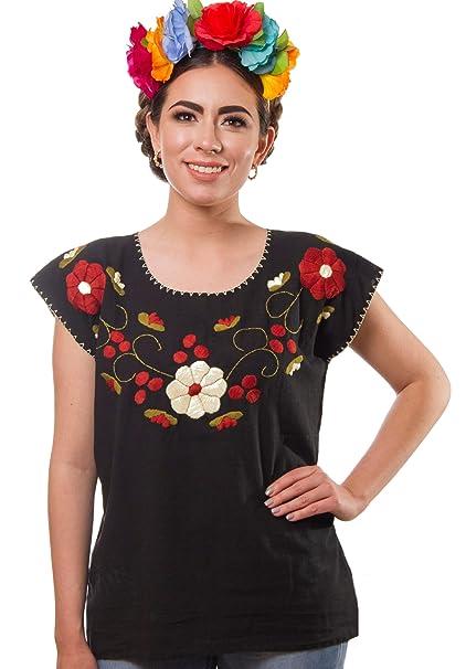 Amazon.com: Blusa mexicana bordada floral artesanos hecha a ...