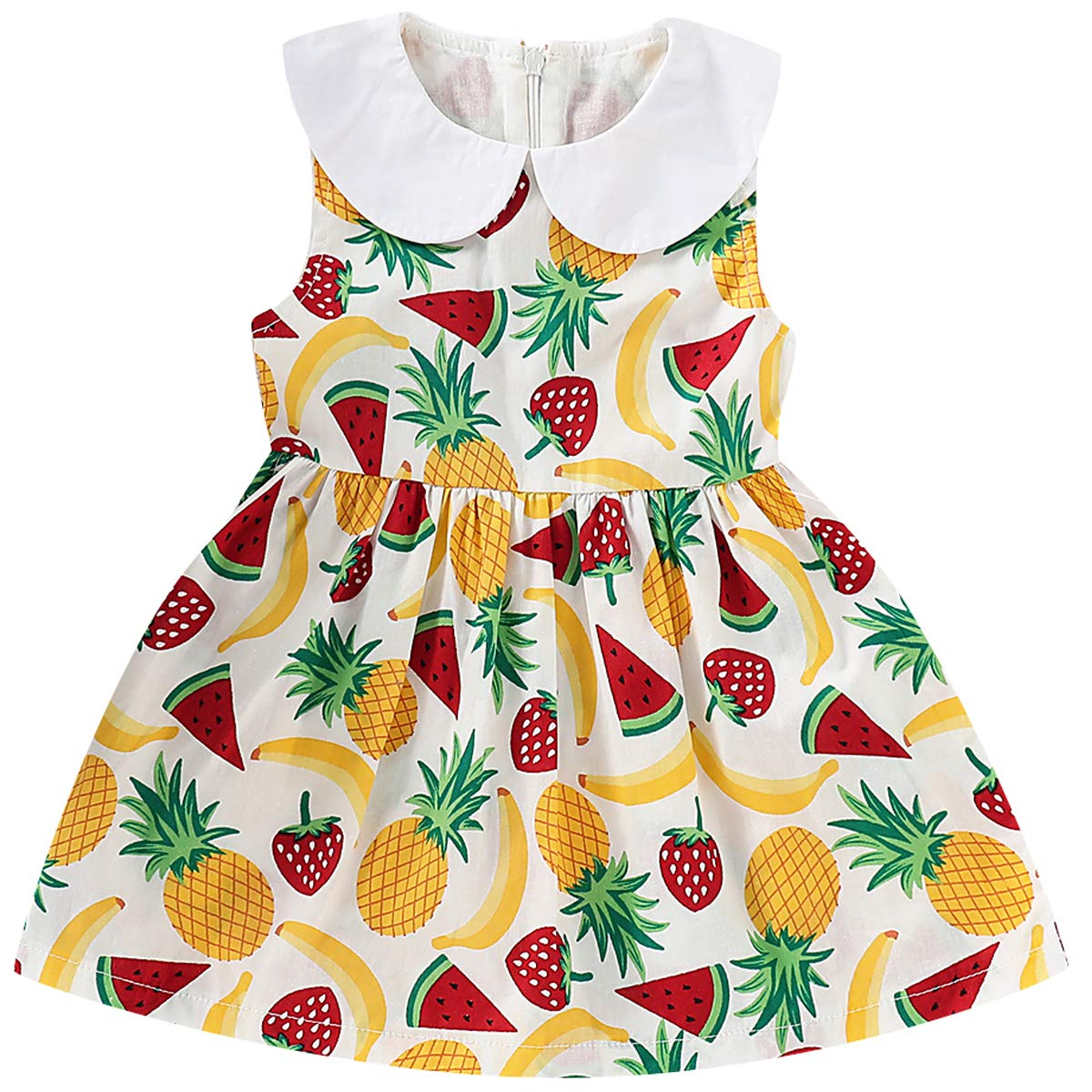 Toddler Baby Girls Peter Pan Collar Dress Swing Casual Sundress
