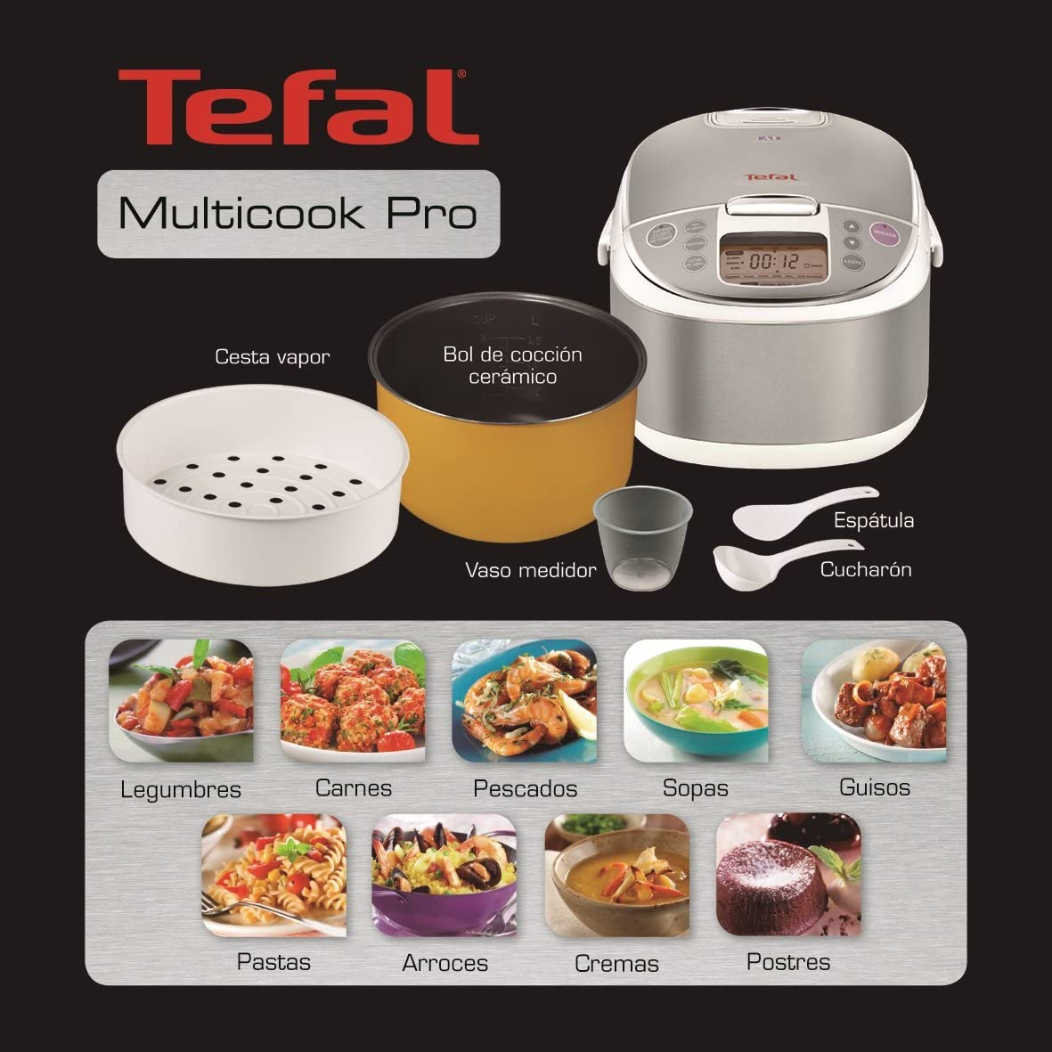 Tefal RK704E20 - Procesador de alimentos, 750 W, 12 funciones, capacidad de 4 litros, color gris: Amazon.es: Hogar