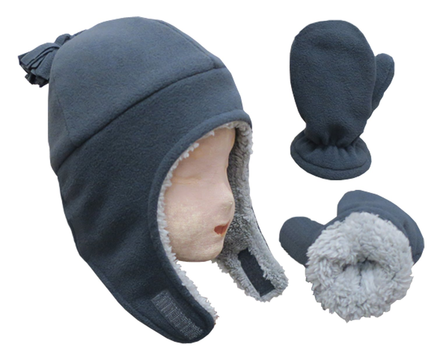 NIce Caps Little Boys and Baby Sherpa Lined Micro Fleece Pilot Hat Mitten  Set 2753- cc024b11a94c