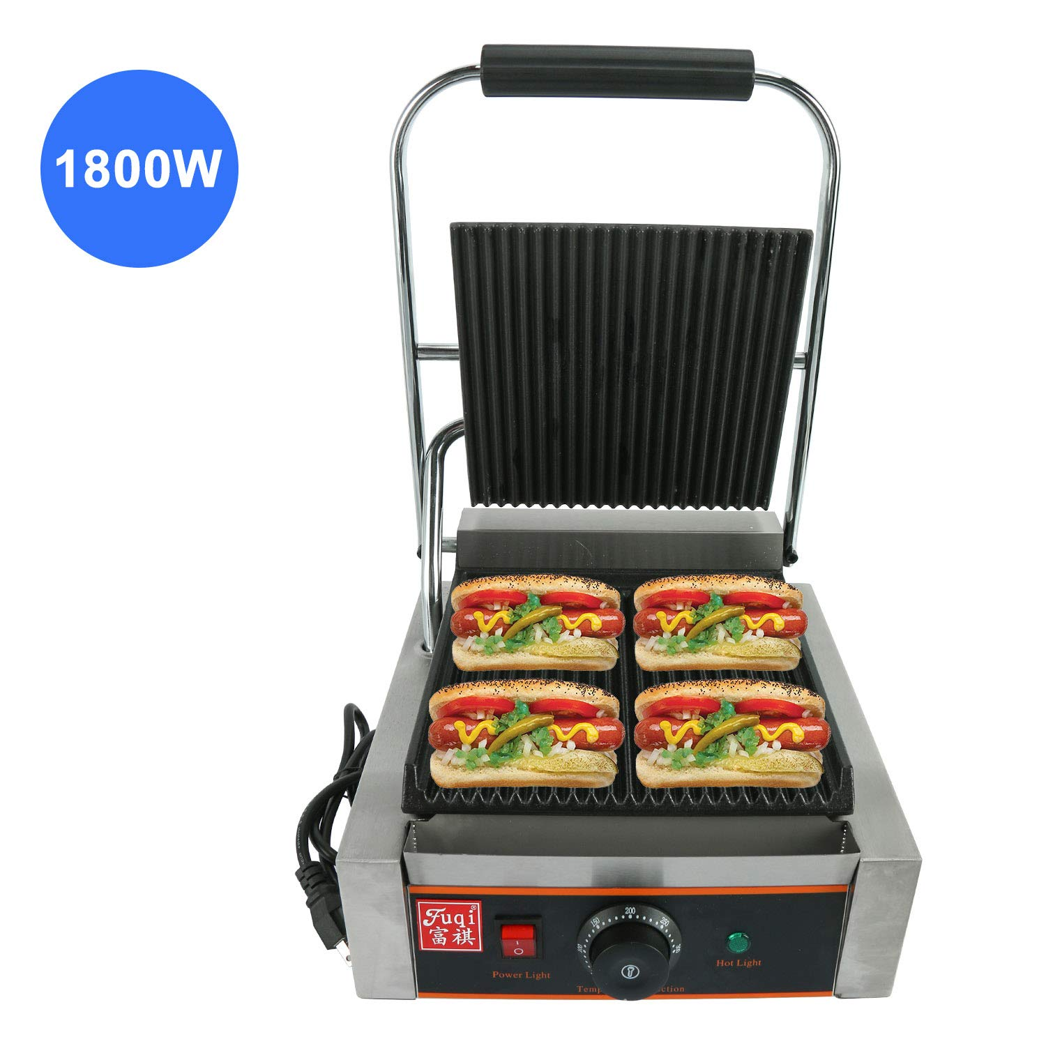 Homend 110V 1800W Sandwich Press Commercial Panini Grill Durable Stainless Steel Construction with Adjustable Temperature Control Cooking Non Stick Surface, Grooved Plates