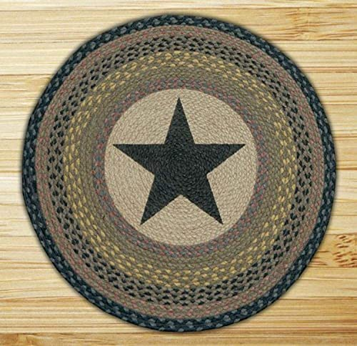Earth Rugs Round Rug, 27 Inch, Brown Black Charcoal