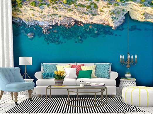 Amazon Com Self Adhesive Wallpaper Roll Paper Mediterranean Island Seashore Aerial View Tropical Islands And Removable Peel And Stick Wallpaper Decorative Wall Mural Posters Home Covering Interior Film Kitchen Dining