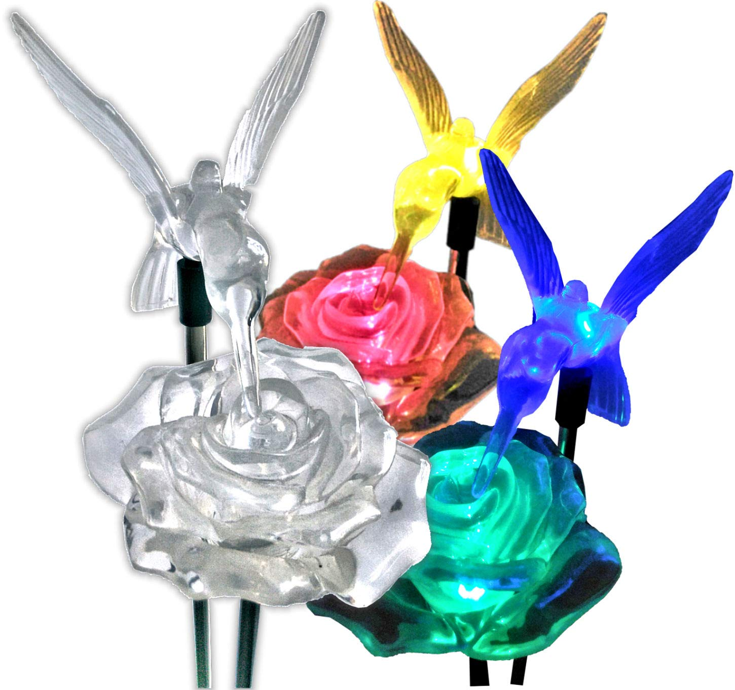 Brilliant & Mo Stunning 2 Solar Rose Lights with 2 Solar Hummingbird Lights Garden Stakes For Home Patio Deck Lawn Yard Decor