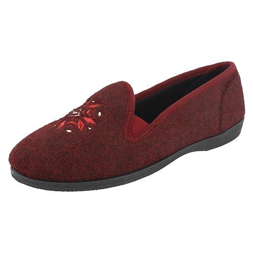 Clarks - Zapatillas de estar por casa de Tela para mujer rojo granate: Amazon.es: Zapatos y complementos