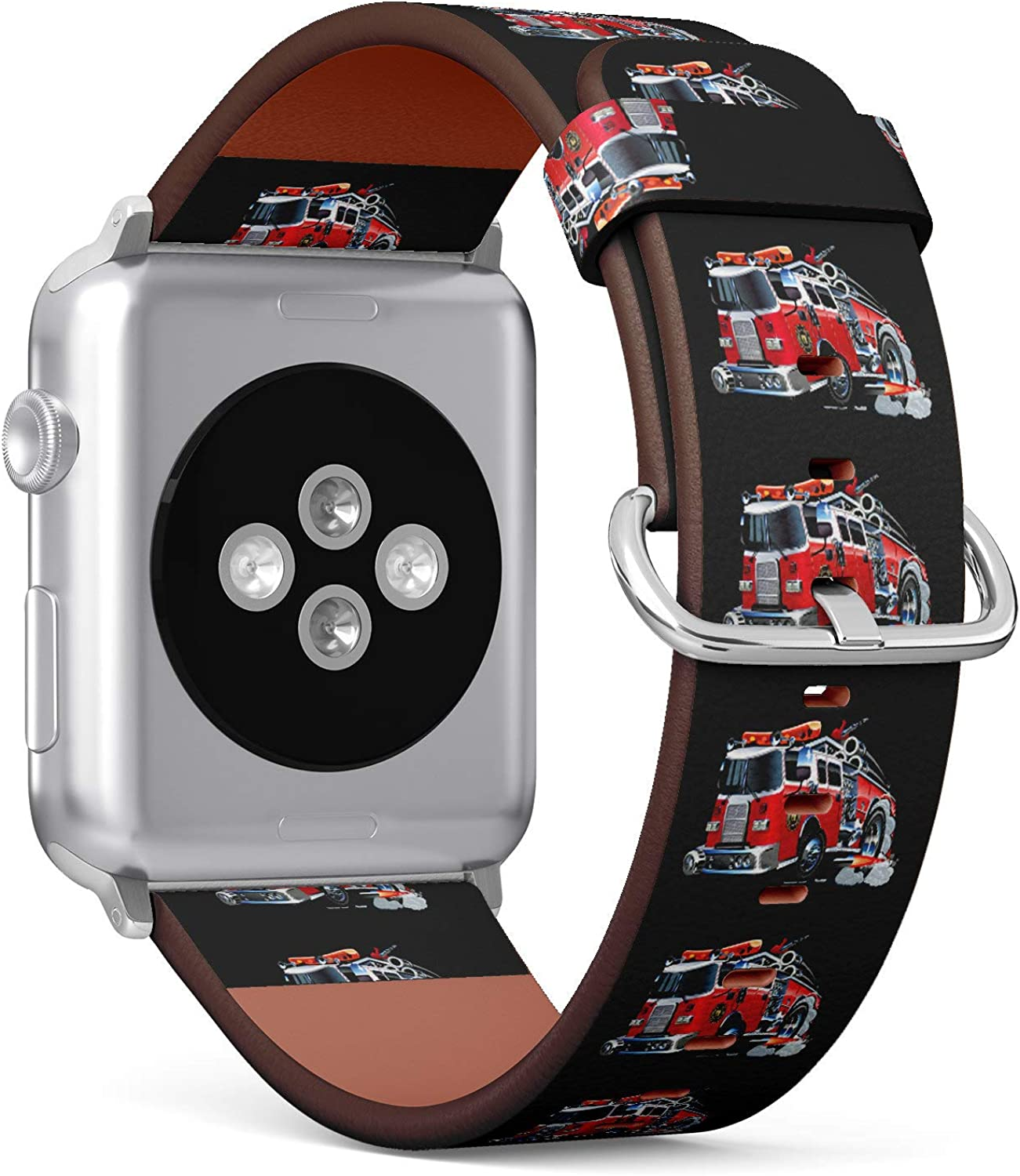 (Cartoon Firefighter Truck) Patterned Leather Wristband Strap for Apple Watch Series 4/3/2/1 gen,Replacement for iWatch 38mm / 40mm Bands