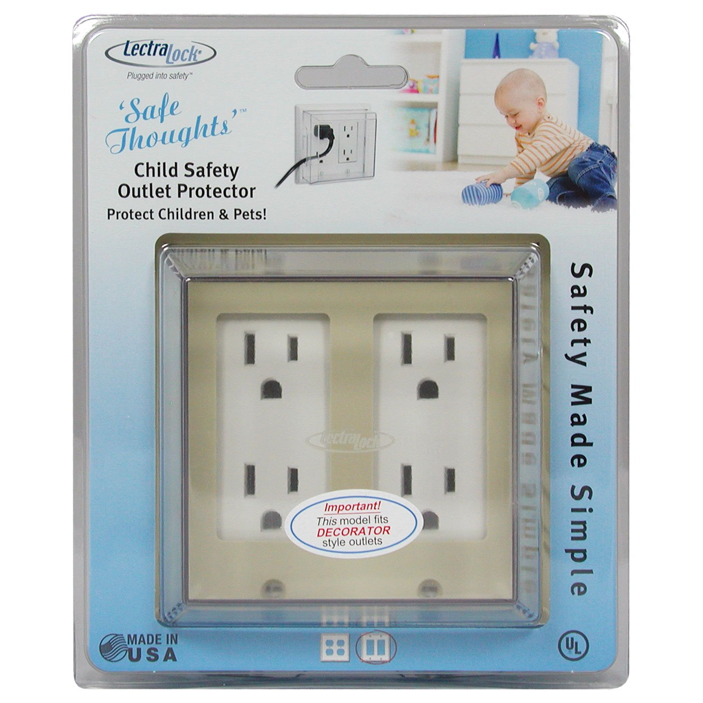 LectraLock - Baby Safety Electrical Outlet Cover - Double - GFCI Style - Deep Cover