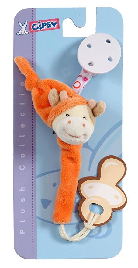 Gipsy 070148 Pomme - Cadena de peluche para chupete (13 cm), diseño de vaca, color naranja