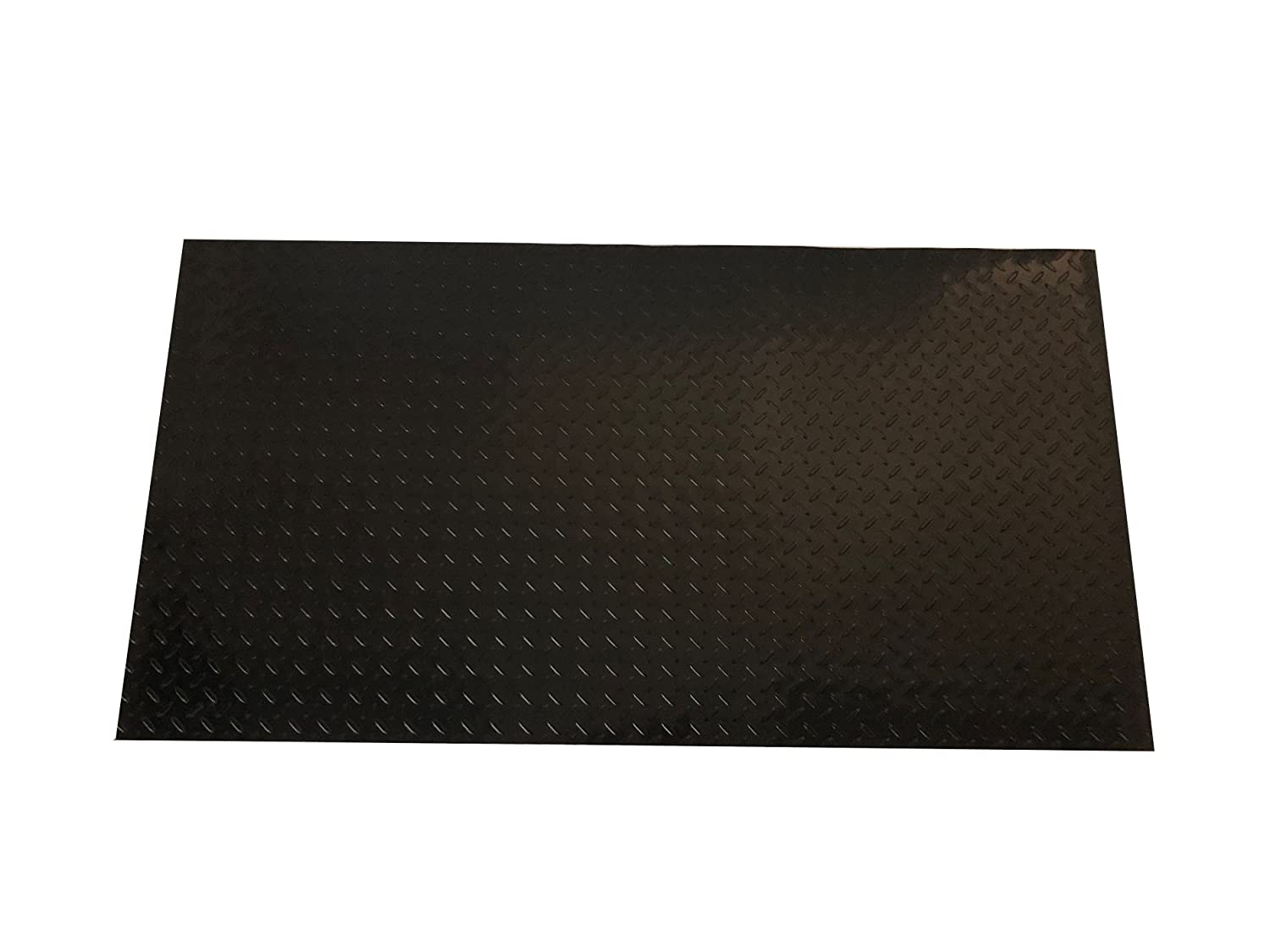Resilia - Black Plastic Floor Runner/Protector - Embossed Diamond Plate Pattern, (27 Inches Wide x 6 Feet Long)