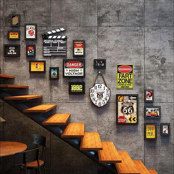 Q&Z Marcos De Fotos 16 GaleríA De Fotos Collage Escaleras Creativo De Pared GaleríA MúLtiple Marco Carta Requiere Ensamblaje Portafotos De Madera con Reloj para Industria Decoracion Regalo: Amazon.es: Hogar