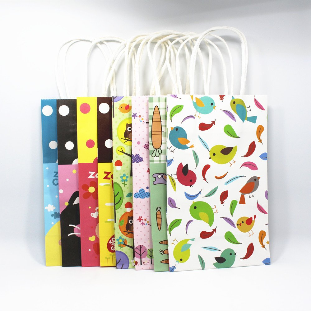 "130 Pieces 8.3""x5.1''x3.1''(21*13*8cm) Multifunction Green Birdie Pattern Kraft Paper Bags with handles Festival Gift Handbag High Quality Shopping Bags"