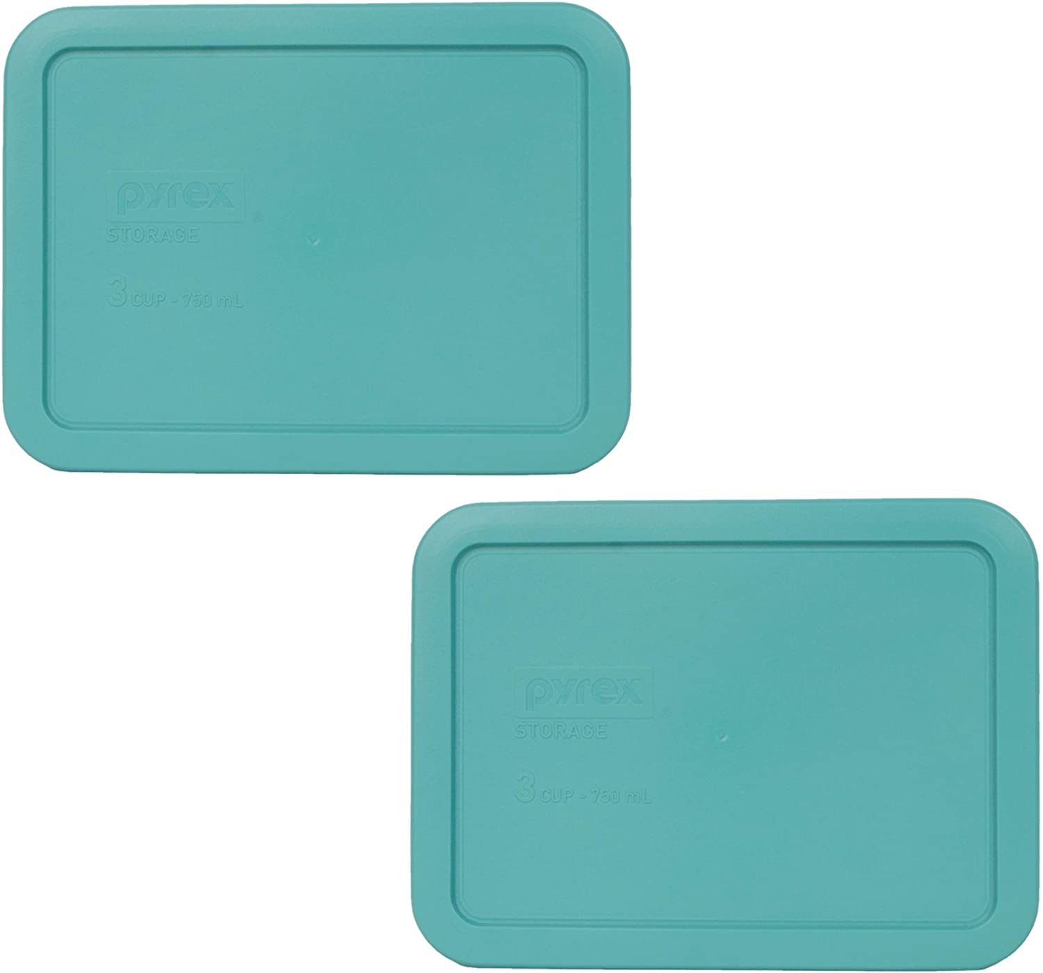 Pyrex 7210-PC 3 Cup Turquoise Rectangle Plastic Food Storage Lid - 2 Pack