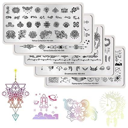 NICOLE DIARY Placas de estampación Tatuajes Kits de estampado de ...