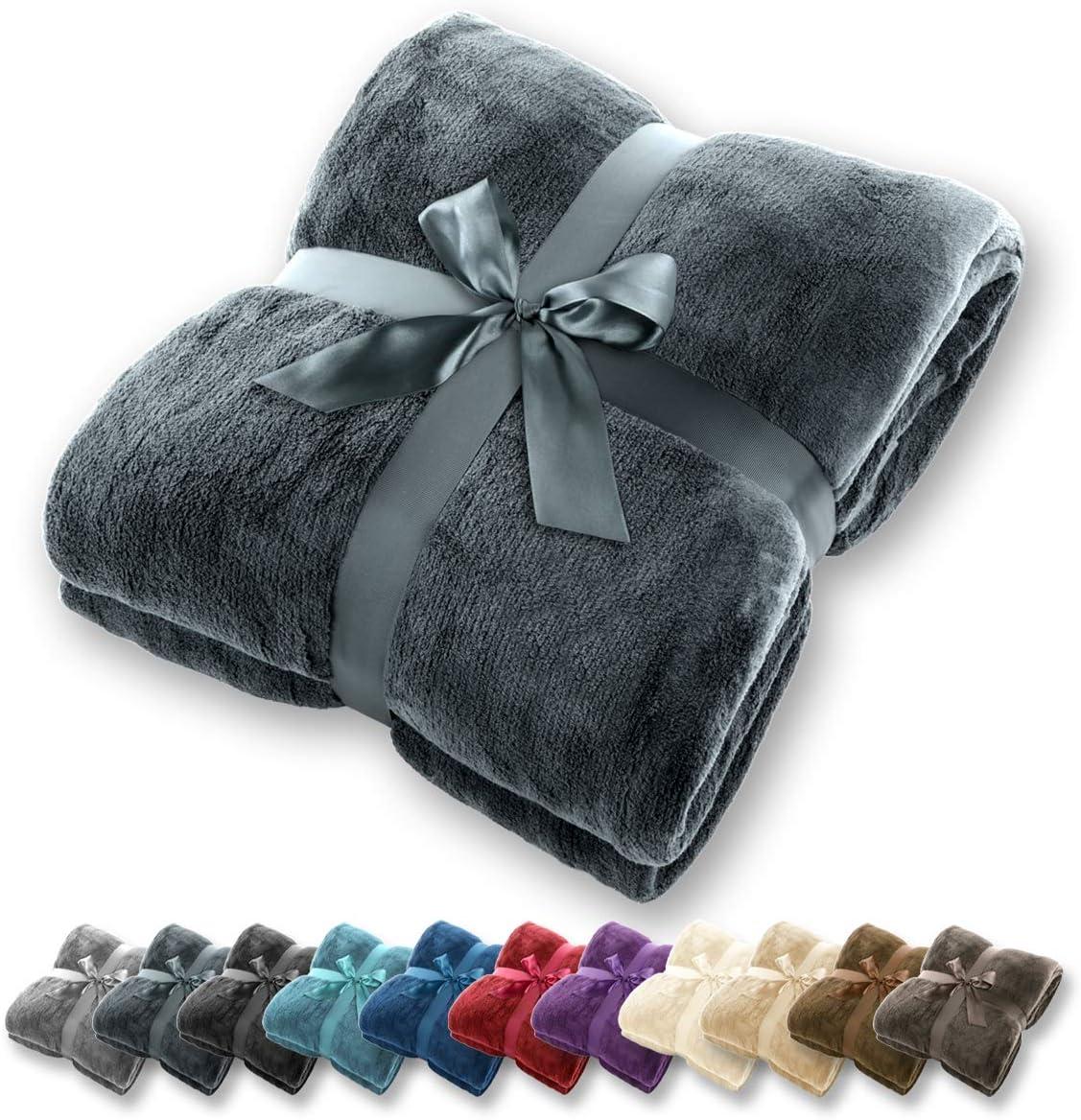 Manta Gräfenstayn® - Muchos tamaños y colores diferentes - Manta de microfibra Manta para sala de estar Manta para cama - Fibra polar de microfibra de franela (Antracita, 240x220 cm)