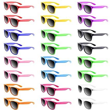 Amazon.com: Paquete de 24 gafas de sol de colores neón de ...