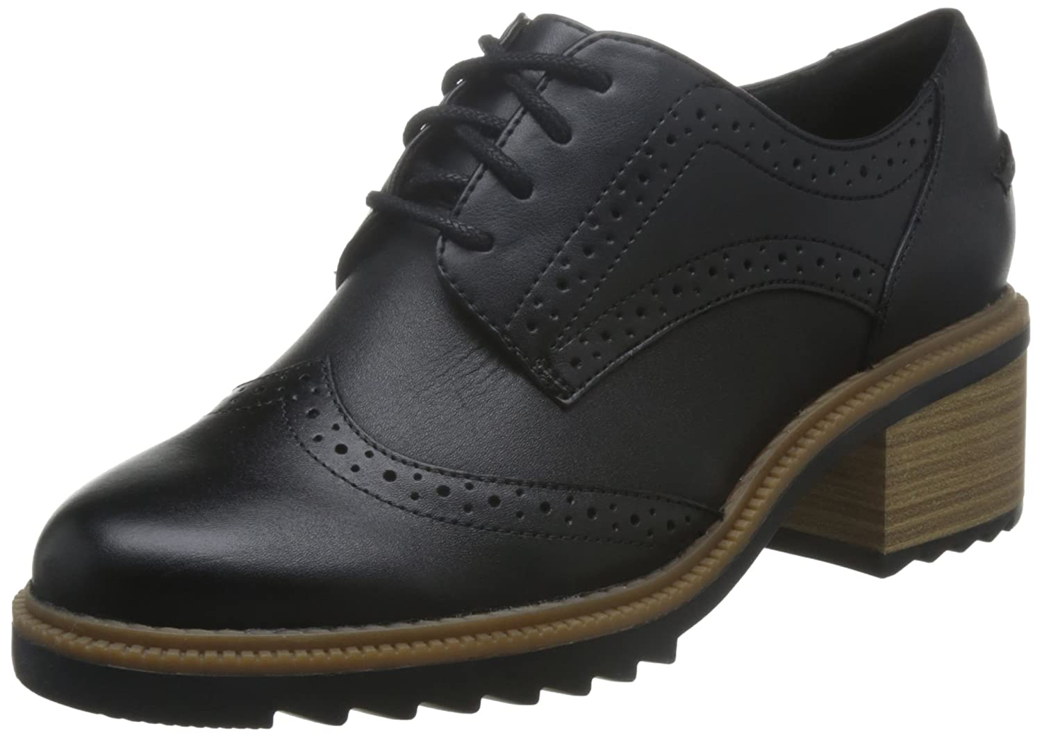 Clarks Balmer Bella, Scarpe Stringate Basse Oxford Donna  Nero (Black Leather)