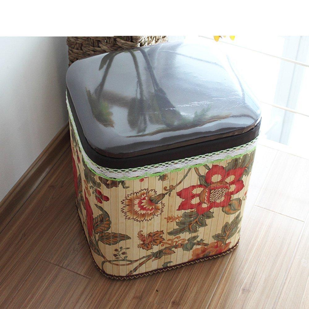 MOMO Taburete de Almacenamiento Creativo de Flores Taburete de Pastoral Simple Sentado Taburetes de bambú Hecho a Mano para taburetes (tamaño Opcional) - Taburete de Almacenamiento,Grande