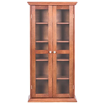 Amazon Wood Media Storage Cabinet Cd Dvd Shelves Tower Glass