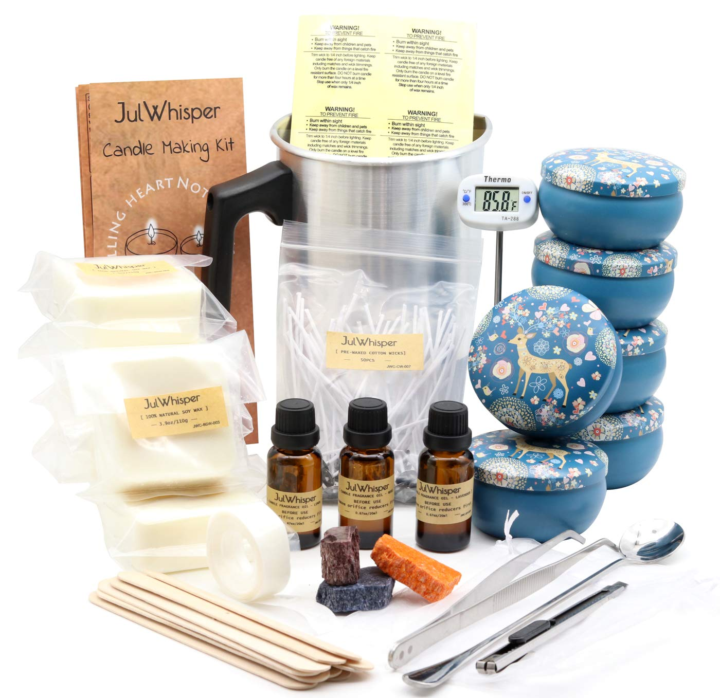 JulWhisper Candle Making Kit Supplies to Create 6 Large Scented Candles, Complete Beginners Set with Soy Wax, Melting Pot, Rich Scents, Thermomete, Tins, Dyes, Wicks & More