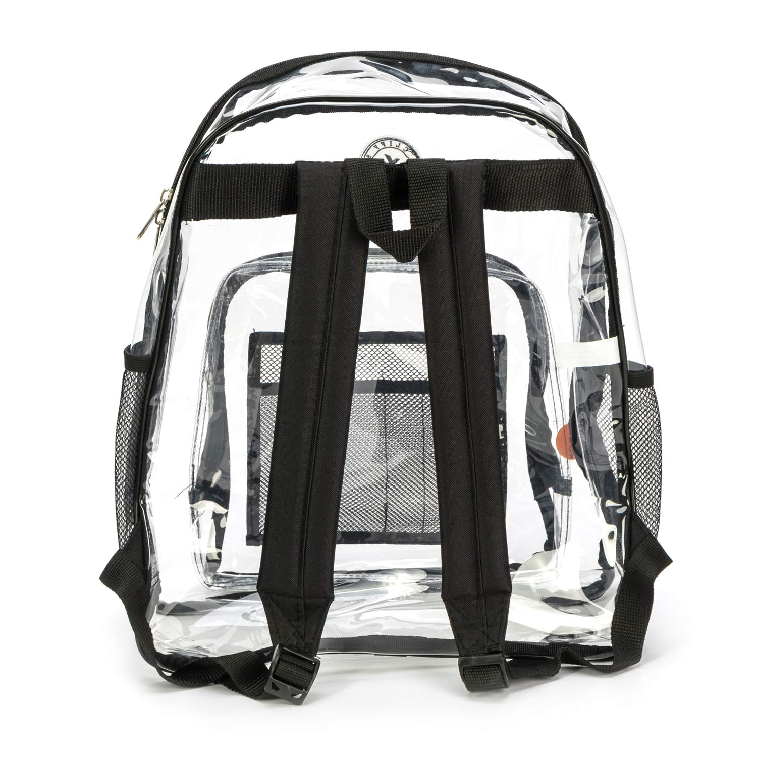 Heavy Duty Clear Backpack Durable See Through Student School Bookbag Quality Transparent Workbag Easy Stadium Security Check Bag Daypack Black by K-Cliffs (Image #8)