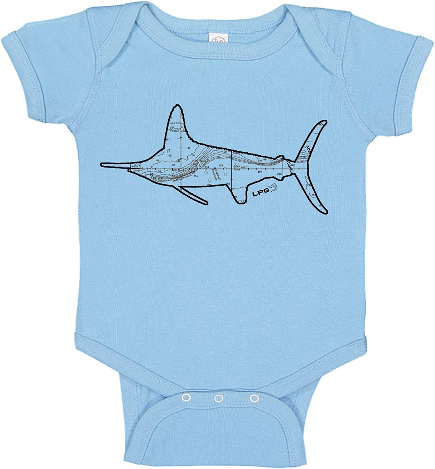 White Marlin North East Canyons Map Fishing Fish Tails Baby Bodysuit Romper