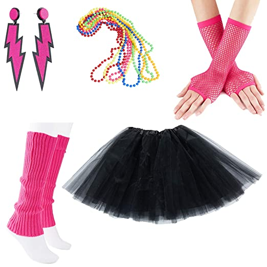 NEON RAINBOW TUTU SKIRT LONG GLOVES LEGWARMERS BEADS NECKLACE 80S COSTUME LOT