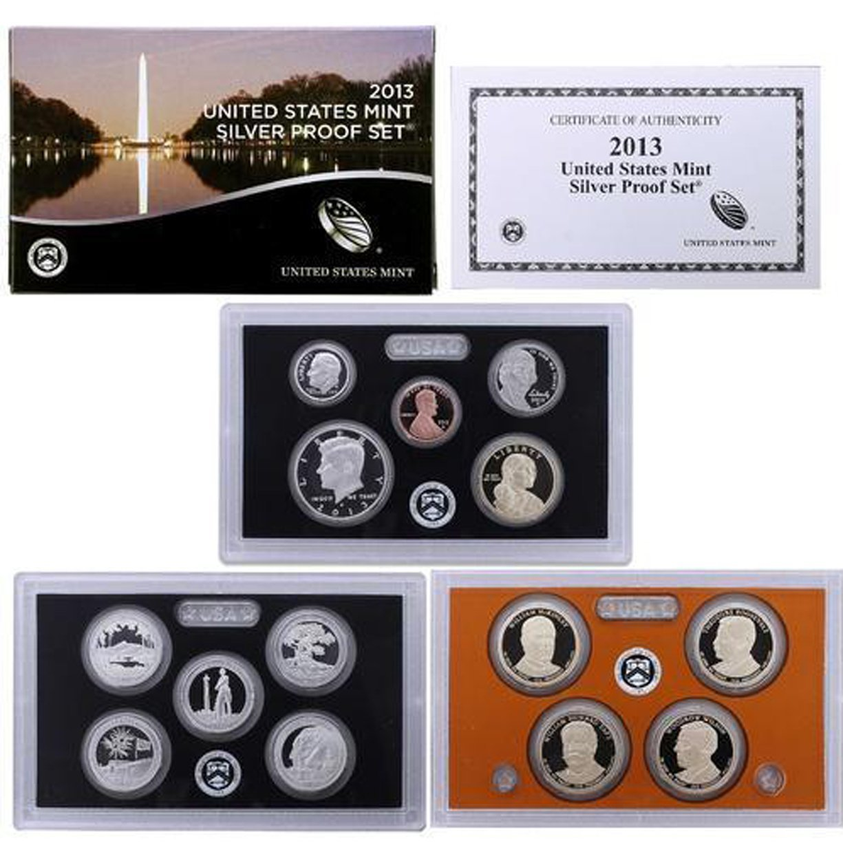 2013-S US MINT 14 COIN SILVER PROOF SET ~ WITH PARKS /& PRESIDENTS ~ OGP