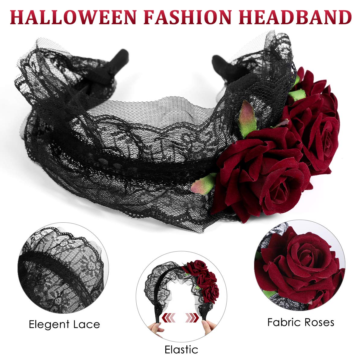 Roses Head Hoops With 2 Sheets Spider Web Temporary Tattoos For Halloween Party Costume Accessories