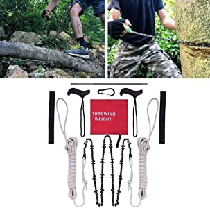 Pocket Chainsaw 48 Inch Long Chain High Reach Tree Limb Hand Rope Chain Saw Tree Cutting Rope Chain,with Blades on Both Sides,Rope Wire Saw Folding Chain for Tree Branche Camping Outdoor Woodworking