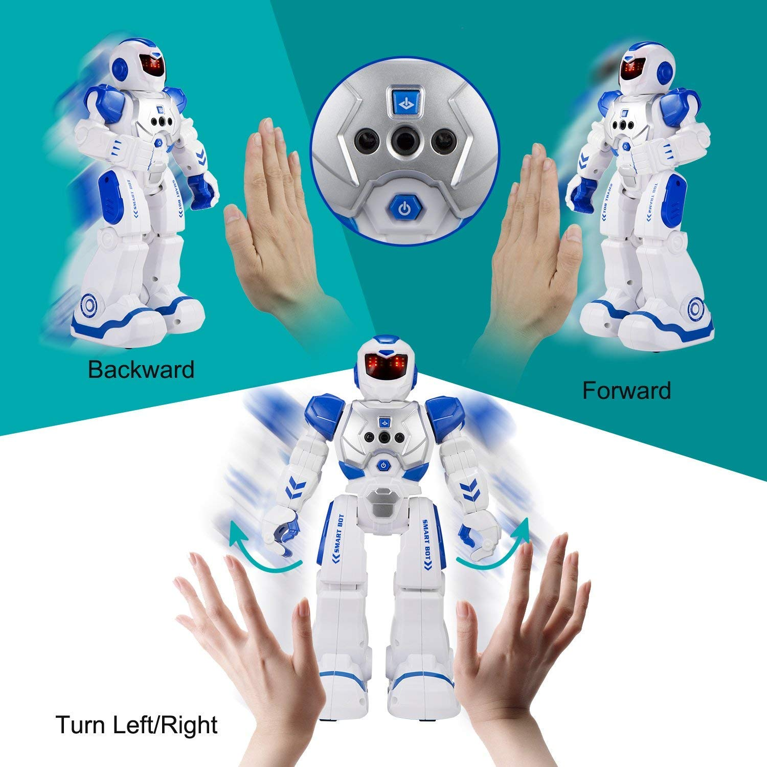Elemusi Remote Wireless Control Robot for Kids Toys,Smart Robots with Singing,Dancing,Gesture Sensing Entertainment Robotics for Children (Blue) by Elemusi (Image #5)