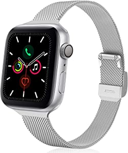 TRA Metal Slim Band Compatible for Apple Watch Band 38mm 40mm 42mm 44mm, Stainless Steel Mesh Adjustable Replacement Thin Strap Wristband for iWatch Series 5/4/3/2/1 Women & Men (Silver, 38mm/40mm)