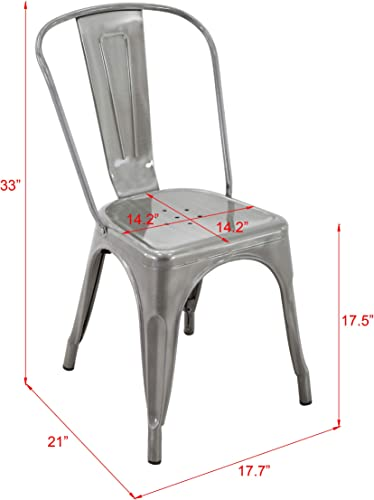 Brage Living 18'' Metal Silvery Dining Chair