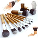 Galwad ® – Set da 11 pennelli per make-up, setole naturali con manici in bambù, pennelli da make-up morbidi ed ecologici