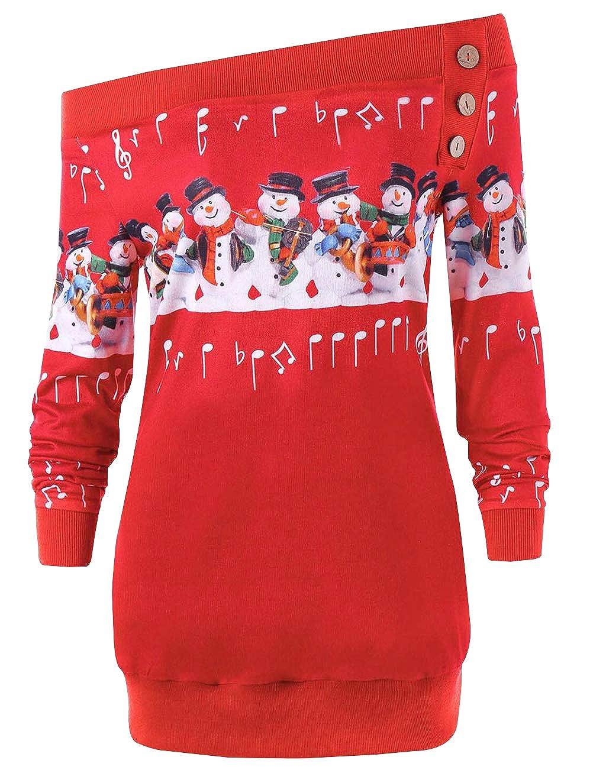 Weihnachten Damen Pullover, Teenager Mädchen Weihnachtspulli Schneemann und Hinweis Druck Langarm Christmas Sweatshirt Schulterfrei Xmas Pulli Weihnachtspullover Oberteile Shirts Bluse