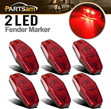 """8X 2.5/"""" Oval Clearance Red LED Lamp 2 Diode Trailer Truck Side Marker Light"""