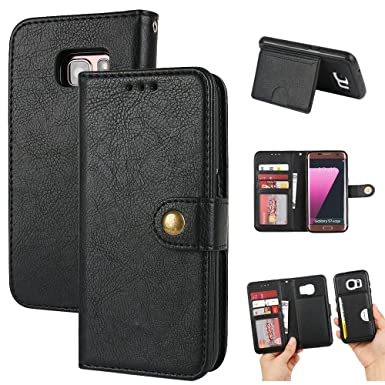 finest selection 0d3d1 b68e9 MTRONX Samsung Galaxy S6 Wallet Case, Detachable Magnetic Flip PU Leather 2  In 1 Removable Back Cover Case Pouch Purse with Stand and Card Slot for ...