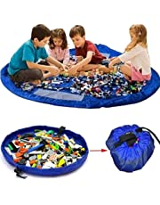 Toy Storage Bag, 55 inch Toy Organizer Bag and Kids Floor Activity Mat, Multi Purpose Play Mat, Quick Pouch for Storing Small and Medium Size Toys, Blue