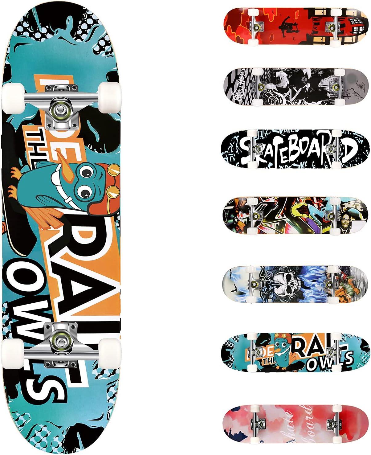 Complete Skate Boards Adult Teens Girls Boys Maple Skateboard for Beginners ~