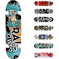 WeSkate Completo Skateboard para Principiantes, 80 x 20 cm 7 Capas Monopatín de Madera de Arce con rodamientos ABEC-7…