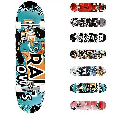 FREEDARE Skateboard 31 X 8 Inch Complete Standard Skateboard for Kids Adults /& Beginners 7 Layer Canadian Maple Deck