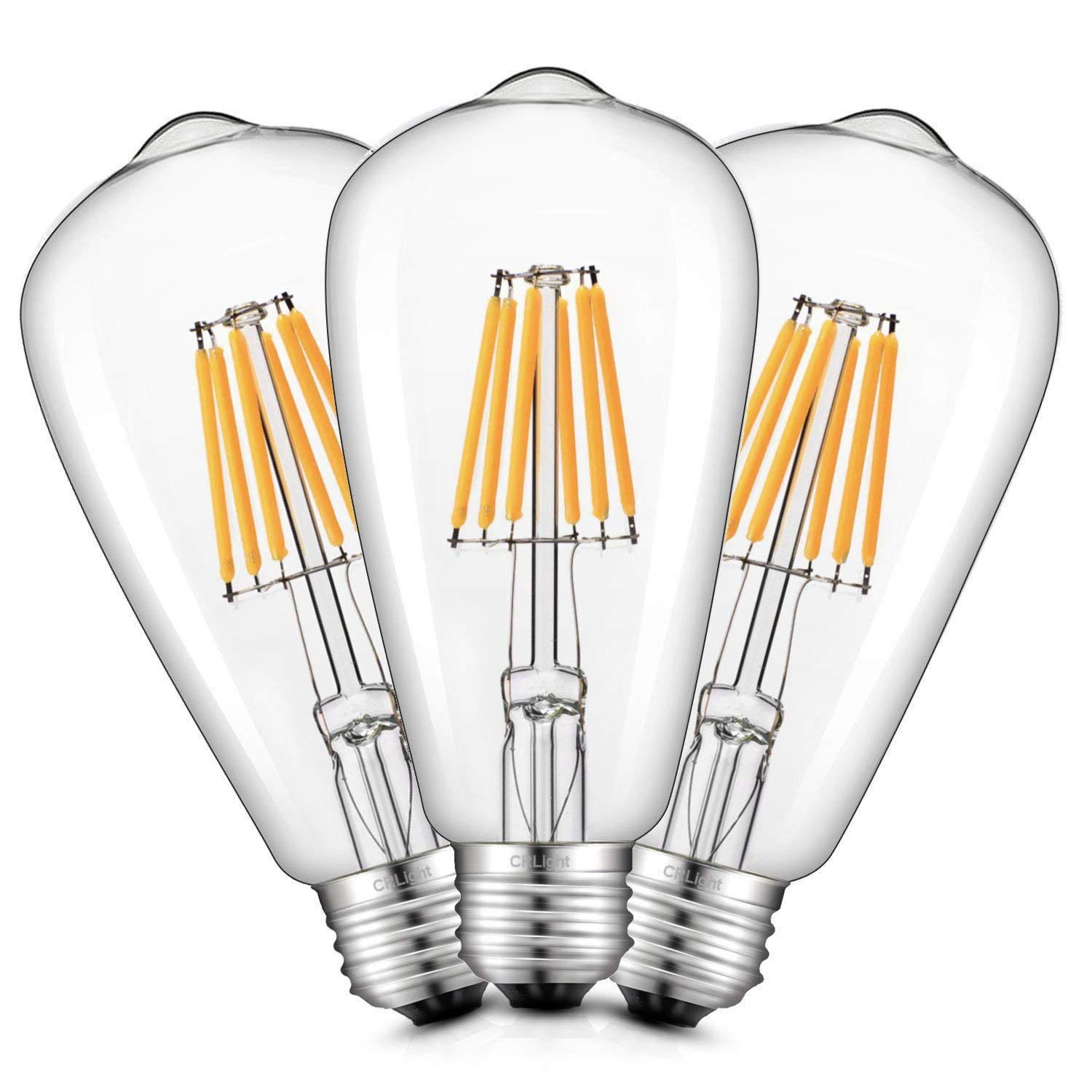 Crlight 6w Dimmable 2300k Ultra Warm Color Amber Glow Edison Style 300pwh Diva 300w Electronic Low Voltage Single Pole Dimmer In White Vintage Led Filament Light Bulb 600lm E26 Medium Base Lamp St21st64 Antique Shape