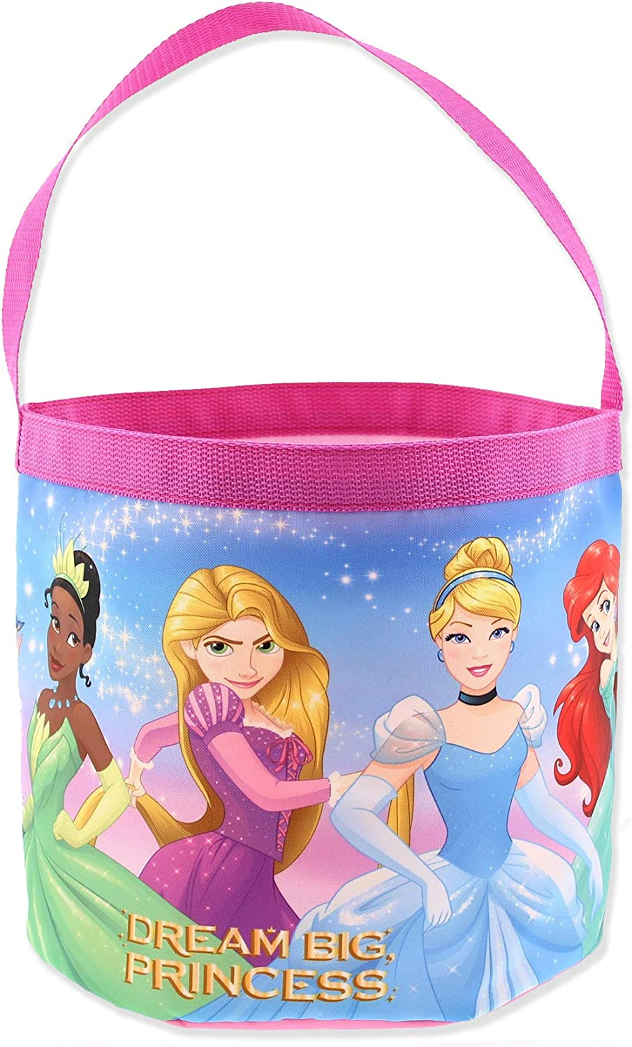 Disney Princess Girls Collapsible Nylon Holiday Basket Bucket Toy Storage Tote Bag (One Size, Pink)