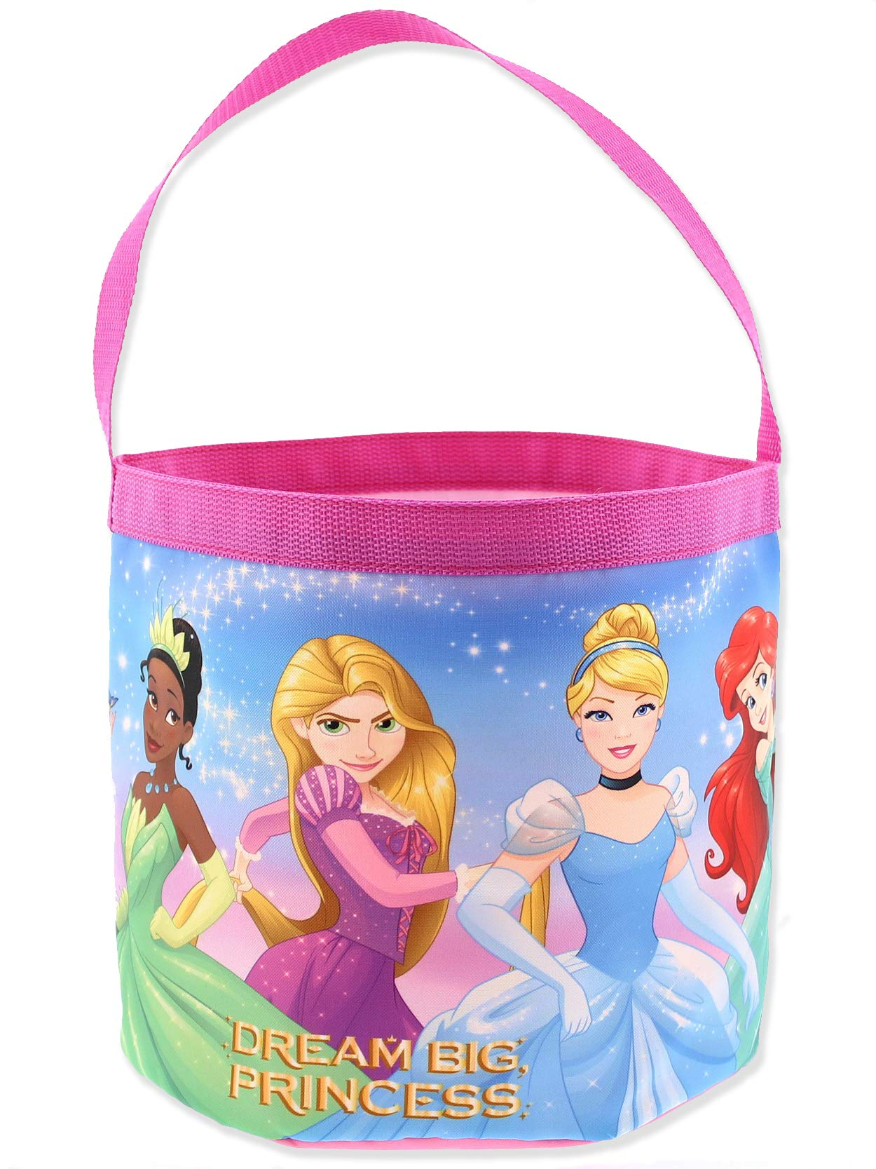 Disney Princess Girls Collapsible Nylon Easter Basket Bucket Gift Tote Bag (One Size, Pink)