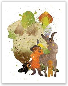 Shrek Art Poster – Nursery Kids Wall Art Decor – Puss in Boots Donkey Princess Fiona – Kids Room Prints (11x14)