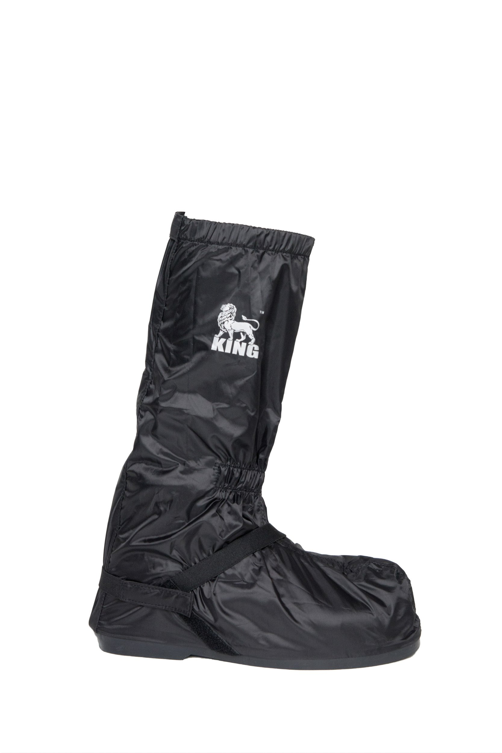 Protect the King Motorcycle Rain Boot Cover with Hard Sole (X-Large, Black/Silver)