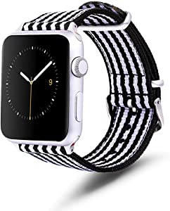TinaWood Black and White Strap Wristband Watch Strap Comfortable Denim Fabric Replacement Watch Band Compatible for iWatch Series 4/3/2/1 (Black and White, 42MM/44MM)