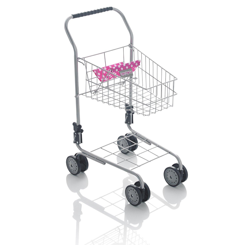 Chariot de supermarché en métal avec siège poupée rouge